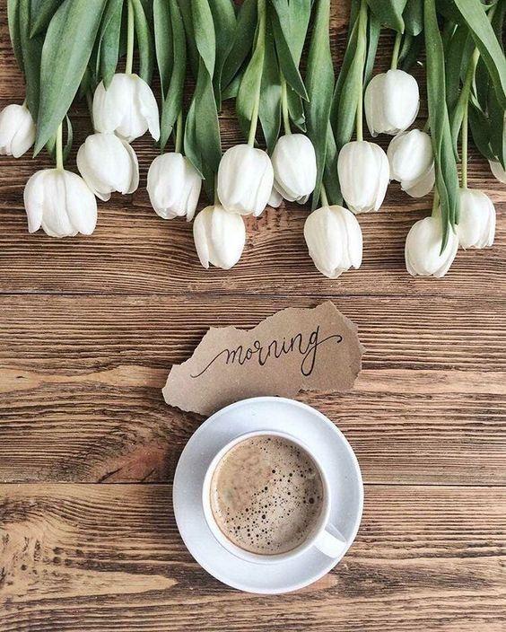 Café et tulipes blanches de printemps